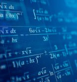 Mathematical formulas on blue background