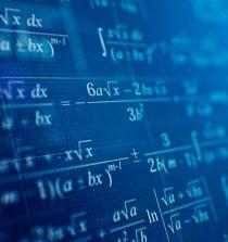 Mathematical formulas on blue background