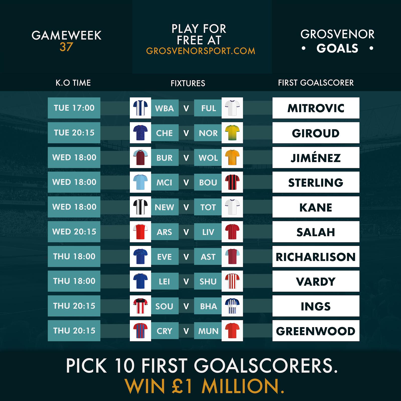 Grosvenor Goals GW37: Prediksi Pencetak Gol Pertama