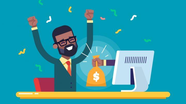 Cartoon man receiving a bag of money from a computer screen